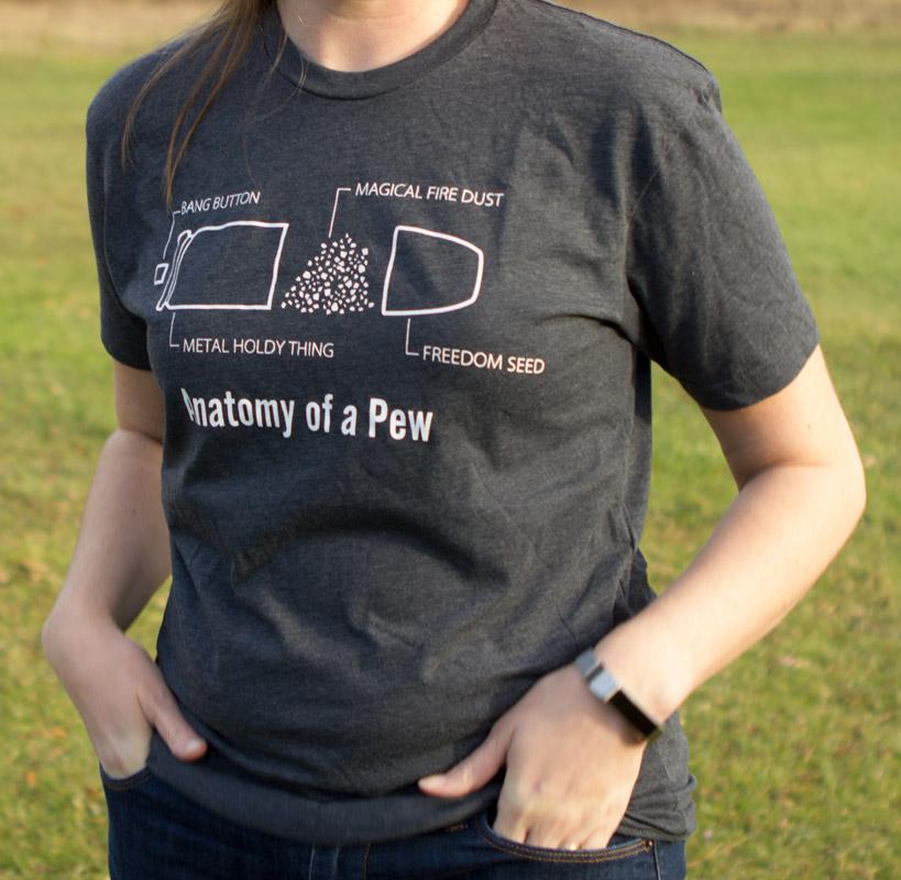 The Original Anatomy of a Pew T-Shirt | ilovebullets.com